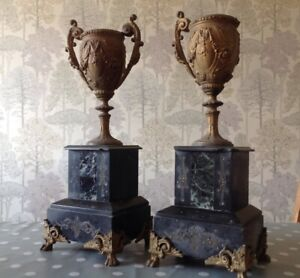 Antique Clock Garniture Pair Marble Slate Spelter Urn 14 Tall To Restore Parts