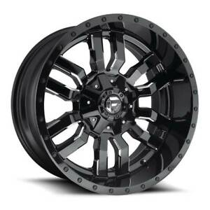 22x12 Fuel Sledge D595 8x180 44 Black Milled Wheels Rims Set 4