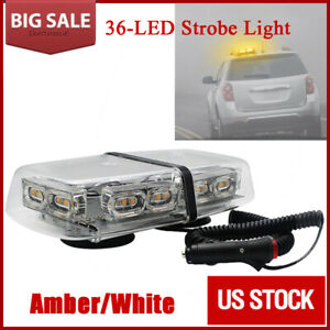 Flash Emergency Light Bar Us Led Warning Mini 24 Strobe Enforcement Amber White