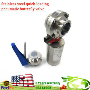 Sus304 Sanitary Valve Tri Clamp Butterfly Valve pneumatic Actuator Clamp Us