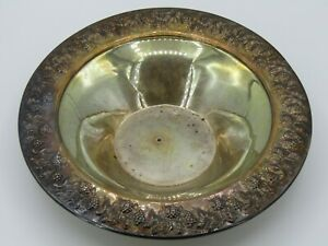 Italian Sterling Silver Grapevine Repousse Bowl Made In Padova Italy