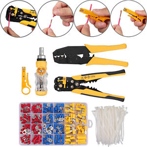 Wire Stripper screwdriver 225pcs Wire Terminals cable Tie Crimping Tools Kit