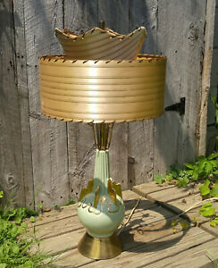 Vintage Mcm Mid Century Atomic Ceramic C Miller 1955 Table Lamp 2 Tier Shade