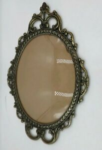 Vintage Brass Ornate Metal Oval Picture Frame Convex Bubble Dome Glass 17 X12