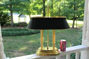Brass Black Painted Tole Shade Bouillotte Table Lamp