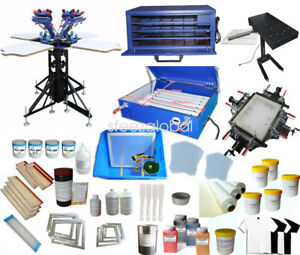 4 4 Screen Print Press With Materials Package Starter Whole Screen Printing Kit