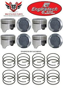 Ford 429 V8 Dish Top Enginetech Pistons With Rings 1968 1973 030 040 060