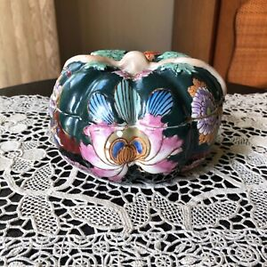 Antique Chinese Melon Ceramic Covered Bowl Lidded Dish Painted Pumpkin Box Mark