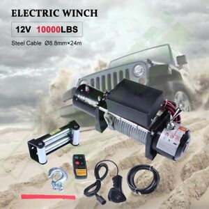 10000lbs 12v Electric Recovery Winch 80ft Steel Cable Rope Truck Trailer Offroad