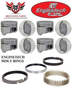 Ford Truck 460 V8 Enginetech Dish Top Pistons With Moly Rings 1993 1997