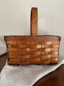 Primitive Antique Handmade Oak Splint Gathering Basket 12 Long 7 5 Wide