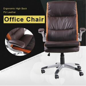 Modern High Back Office Chair Ergonomic Pu Leather Computer Desk Task Chair Sg