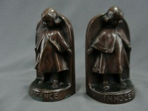 Antique Jennings Brothers 1930 Bookends Innocence Bronzed Metal Listed Jb 1702