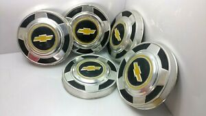 1970 S 1980 S Vintage Nos Set Of 5 Chevy Chevrolet Truck Dog Dish Hub Caps 10 5