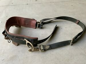 Buckingham Leather Linemans Safety Climbers Climbing Belt With Satety Strap