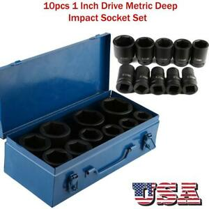 10pcs 1 Inch Drive Metric Deep Impact Socket Tool Set Long Reach With Case Us