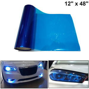 Dark Blue Tint Vinyl Film Overlay Wrap Sheet For Headlight Fog Lights 12 X 48