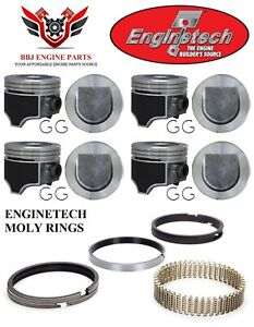 New Enginetech Gm Olds Oldsmobile 307 V8 Pistons With Moly Rings 1985 1990