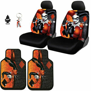 New Harley Quinn Auto Car Seat Covers Floor Mat Keychain Cover Set For Nissan