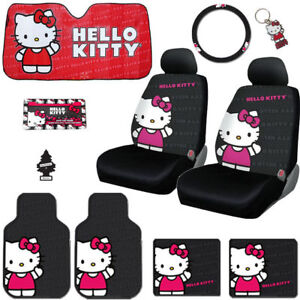 For Bmw 10pc Car Hello Kitty Core Car Seat Steering Covers Mats Accessories Set