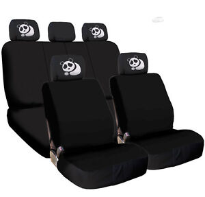 For Hyundai New Black Flat Cloth Car Truck Seat Covers And Panda Headrest Cover