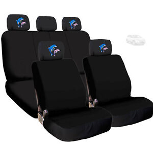 For Ford New Black Cloth Dolphin Logo Front And Rear Car Seat Covers