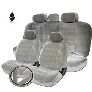 For Toyota Premium Grade Grey Velour Fabric Car Seat Covers Set