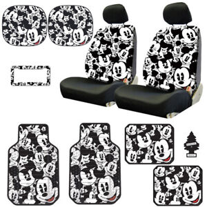 For Mercedes New Mickey Mouse 14pc Car Seat Covers Floor Mat And Accessories Set
