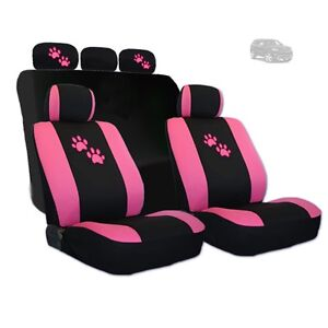 For Jeep Car Seat Covers With Pink Paws Logo Set Tone Front And Rear New