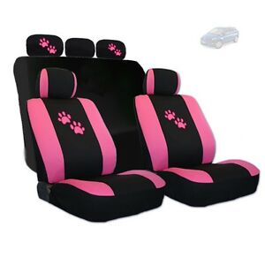 For Mazda Car Seat Covers With Pink Paws Logo Set Tone Front And Rear New