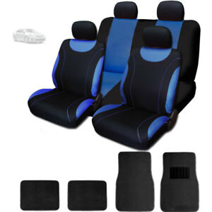 For Toyota New Flat Cloth Black And Blue Car Seat Covers With Mats Set