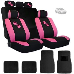 For Ford New Car Seat Covers Front And Rear With Pink Paws Logo And Mats