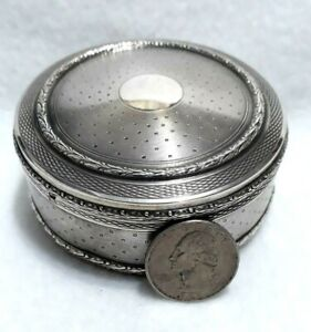 Antique French Sterling Silver Mercury God Hallmarks Guilloche Round Jewelry Box