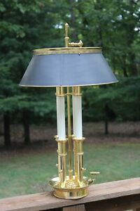 French Bouillotte Solid Brass Table Lamp With Brass Shade