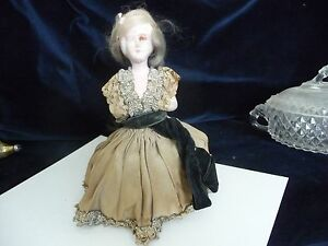 315 Vtg Antique Pin Cushion Bottom As Is Composition Body Victorian Women Dress