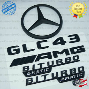 C253 Coupe Glc43 Amg Biturbo 4matic Rear Star Emblem Black Combo Set Mercedes