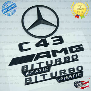 W205 Sedan C43 Amg Biturbo 4matic Rear Star Emblem Black Badge Set For Mercedes
