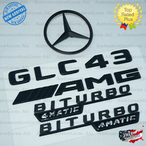 X253 Suv Glc43 Amg Biturbo 4matic Rear Star Emblem Black Combo Set For Mercedes
