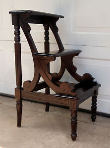 Vintage English Style Carved Mahogany 3 Step Library Stairs Steps