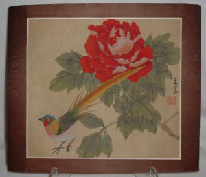 Signed 1919 49 Chinese Silk Hand Painting Bird Of Paradise Peony Rice Paper Org