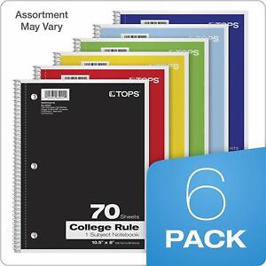 Tops 1 subject Notebooks Spiral 8 X 10 1 2 College Rule Color Free Ship