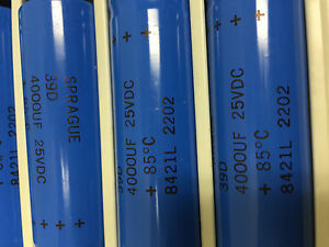 Five 5 Sprague Electrolytic Capacitors 39d Serie 4000 Uf 25vdc Axial Leads
