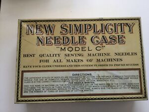Vintage Tin New Simplicity Sewing Machine Needle Case Model C With Wooden Tubes