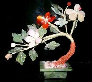 Vintage Chinese Jade Bonsai Flower Blossom Tree Carved Stone