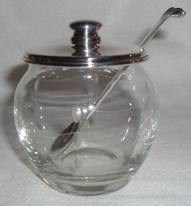 Etched Crystal Sterling Lid Spoon Condement Mustard Jar Currier Roby 1900 43