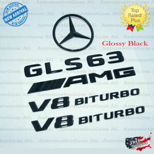 X166 Gls63 Amg V8 Biturbo Rear Star Emblem Black Badge Combo Set For Mercedes