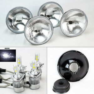 Four 5 75 5 3 4 Oe Round Glass Headlight Conversion W 36w Led H4 Bulbs Plymout