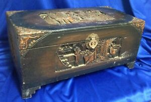 Shirley Temple Estate Chinese Carved Camphor Wood Box W Letter Of Provenance