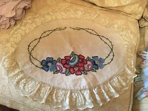 Lovely Antique Pillow Case Needlework Embroidered Lace 1930s 1940s B