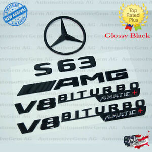C217 S63 Coupe Amg V8 Biturbo 4matic Rear Star Emblem Black Combo Set Mercedes